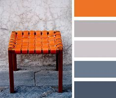 paint swatch combos pale blue, grey and orange - Google Search