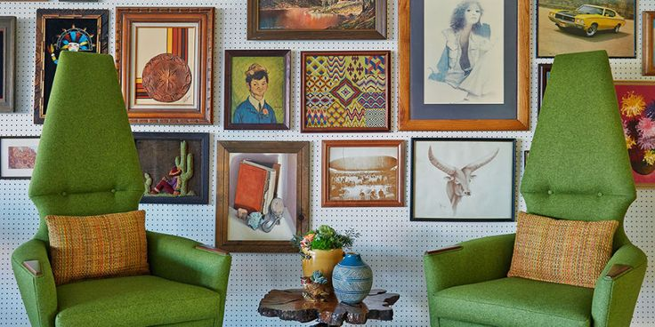 Julia Child perfected the art of organizing her kitchen tools on peg board walls, but we love the idea of creating a gallery wall on top of peg boards too, like in the lobby at the Graduate Tempe.