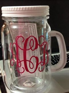 Personalized cups. BPA FREE.. Listing is for a single 16 oz. acrylic mason tumbler that is double walled to keep your drinks cool or hot. Includes a painted top. Can be personalized with graphic shown or many other styles per request. ORDERING INSTRUCTIONS: Please type in the NOTES TO SELLER box at checkout: Name/Monogram/Graphic Color Font choice If requesting monograms initials in order: FIRST LAST MIDDLE Lid Color Monogram Style