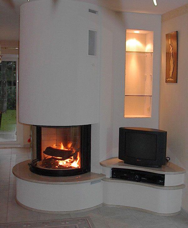chemin e sur angle saillant avec foyer rond tablette en. Black Bedroom Furniture Sets. Home Design Ideas
