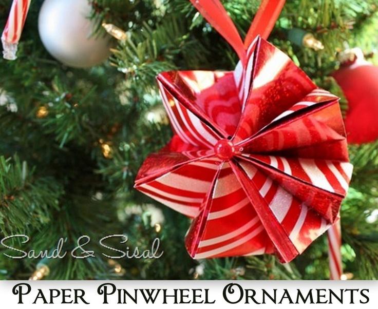 pinwheelPinwheels Ornaments, Ornaments No 7, Features Kim, Diy Ornaments, Paper Ornaments, Paper Pinwheels, Ornaments Features, Handmade Ornaments, Christmas Ornaments