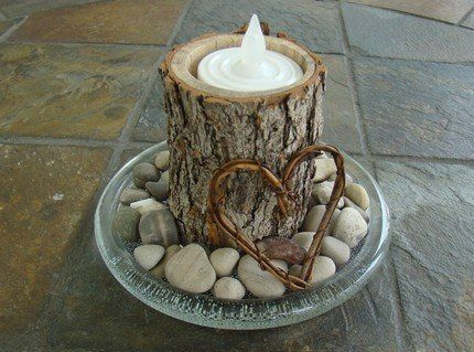 Center piece idea - I like the mix of the stone, wood, glass and candles.
