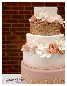 Calling all glam brides! This rose gold sequin wedding cake is for you! Check out our blog to see 8 wedding cakes almost too beautiful to eat!