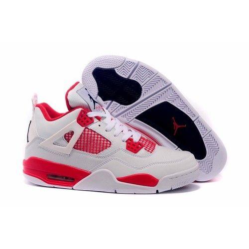 Newest Nike Air Jordan 4 Basketball Shoes Alternate Men Mesh White Red
