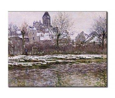 Quadro moderno La Chiesa a Vetheuil sotto neve