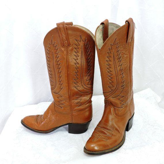 DAN POST Snakeskin Leather Western Cowboy Boots Beige Tan US 6 C
