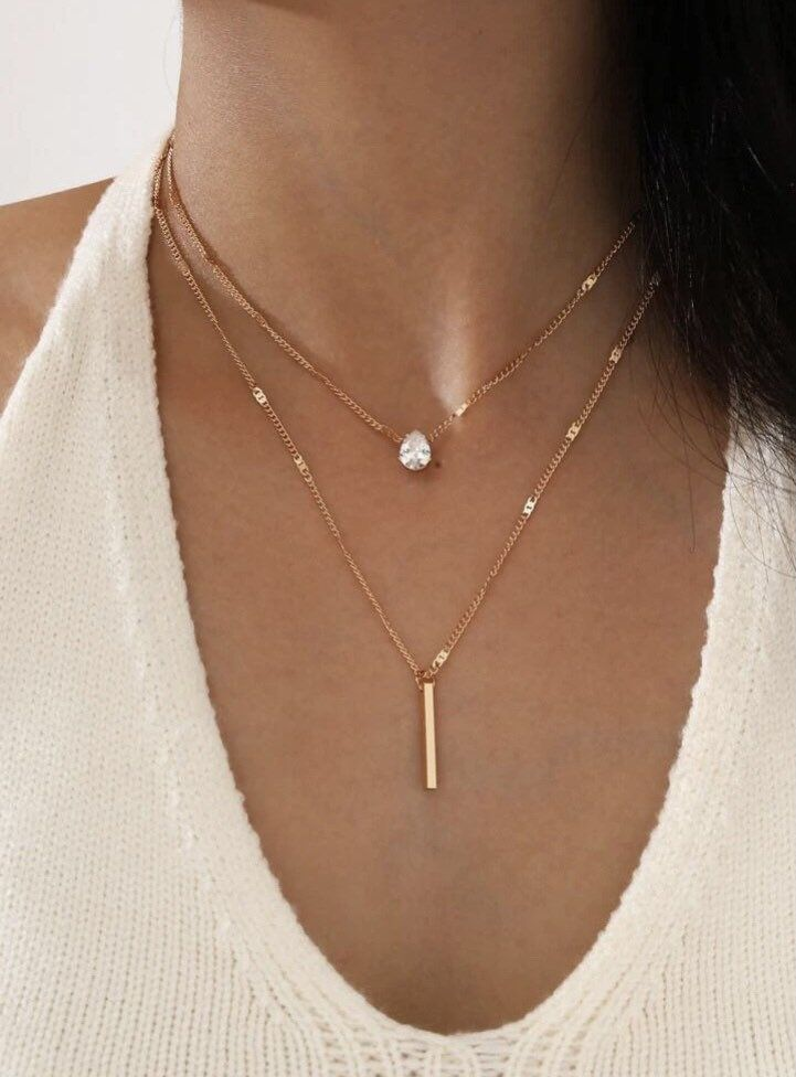2 Piece Rhinestone Bar Pendant Necklace Set Rhinestone Gold Etsy In 2021 Delicate Gold Necklace Layered Necklace Set Minimalist Necklace Gold