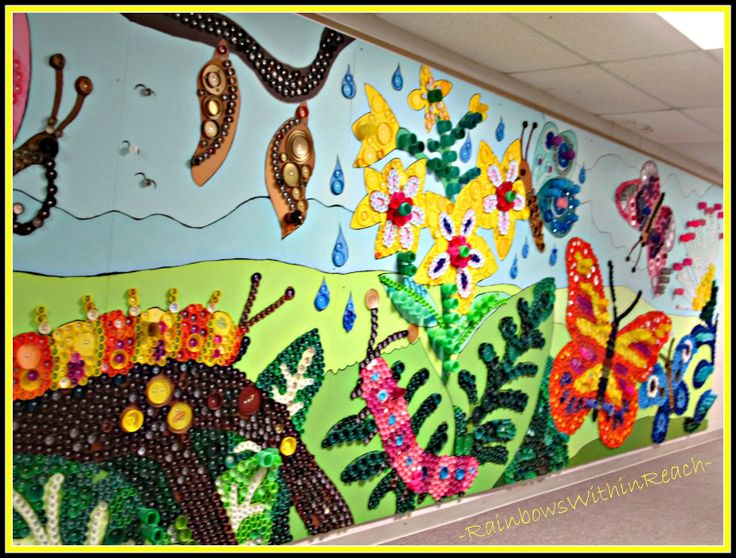 Up cycled art wall murals at an ohio elementary school for Mural jardin