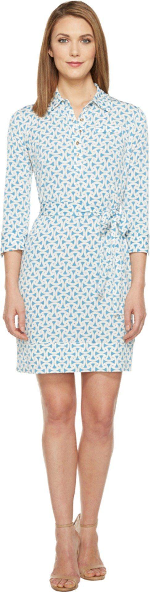 Donna Morgan Women's 3/4 Sleeve Jersey Shirtdress Star/Ivory Dress
