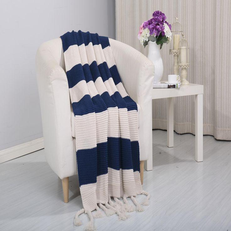 Vintage Luxury Acrylic Throw Blanket 50 x 60 Navy