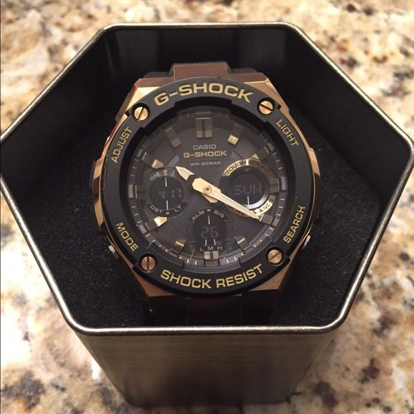 39fd6d427d7a5 Casio G-shock G-steel series watch Solar powered world time analog digital  gold and black watch. G-Steel series consists of quality me…