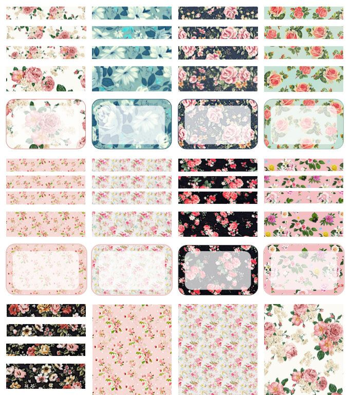 PRINTABLE Erin Condren Floral Planner Stickers, Headers, Half Boxes by…