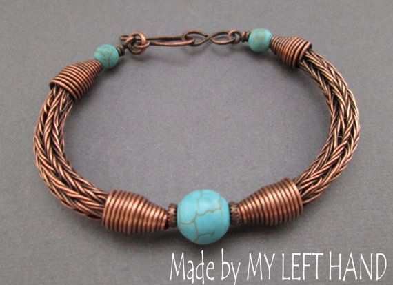 Etsy listing at https://www.etsy.com/listing/158200341/turquoise-copper-dangle-bracelet-viking
