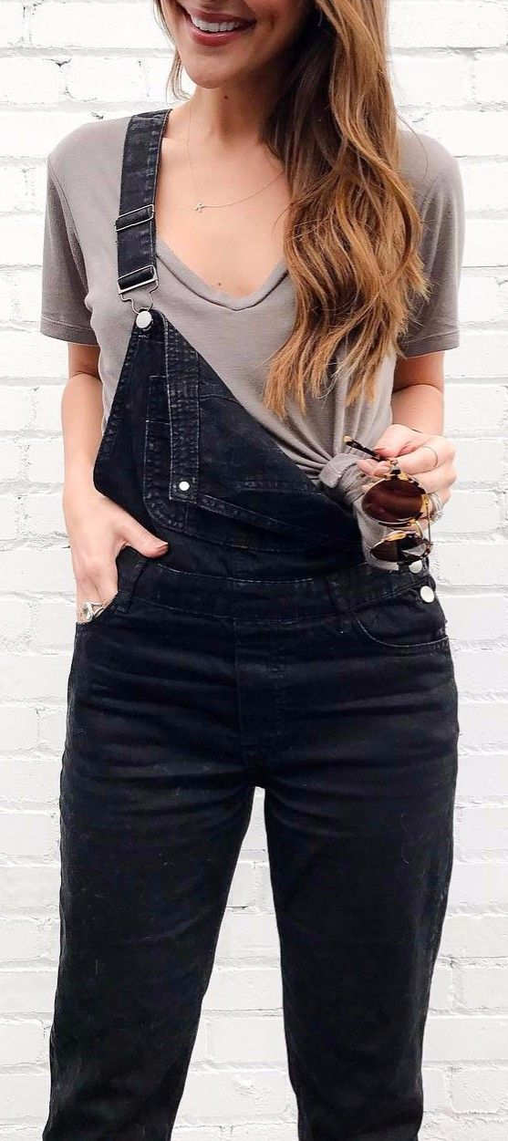 jean overall pairing with a tee casual office style