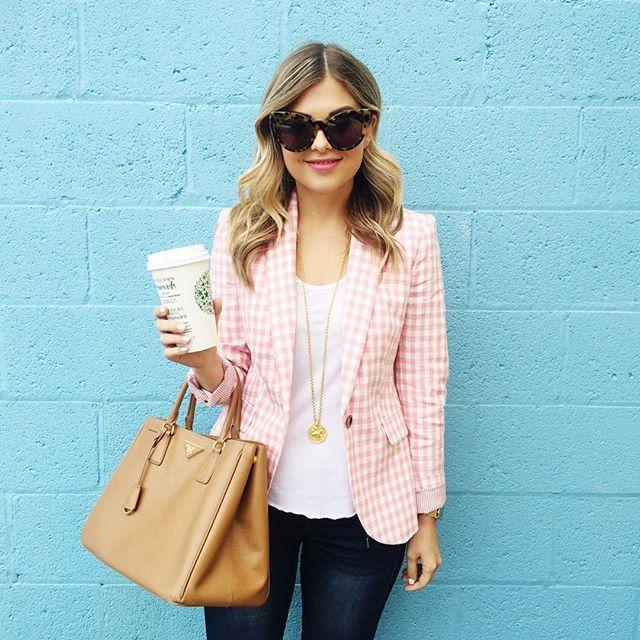 J Crew Pink Gingham Blazer, white t-shirt, jeans, and nude handbag