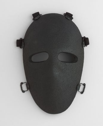 """Bullet-Resistant Mask  Stephen Armellino (American, born 1955)    1983. Kevlar and polyester resin, 11 x 6 3/4 x 3 3/4"""" (28 x 17.1 x 9.5 cm). Manufactured by U.S. Armor Corporation. Gift of the manufacturer"""
