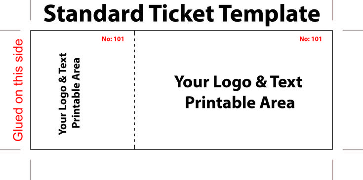Free Editable Standard Ticket Template Example for Concert with Logo and Text Area in White Background : Thogati