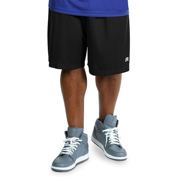 Big & Tall Russell Athletic Dri-Power Solid Shorts ($25) ❤ liked on Polyvore featuring men's fashion, men's clothing, men's activewear, men's activewear shorts, black, mens activewear and mens activewear shorts