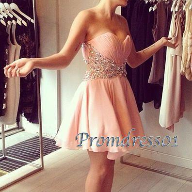 Pink prom dresses short, beaded junior prom dress, 2016 cute handmade strapless chiffon evening dress for teens www.promdress01.c... #coniefox #2016prom