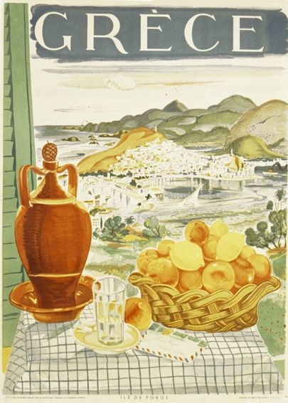 Vintage travel poster of Poros island Greece 1940