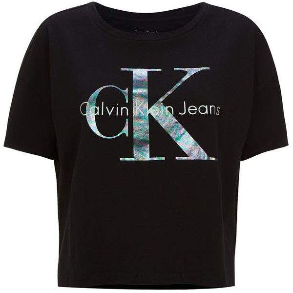 Calvin Klein Jeans Icon Logo T-Shirt ($58) ❤ liked on Polyvore featuring tops, t-shirts, vintage t shirts, calvin klein jeans, logo top, calvin klein jeans top and logo t shirts