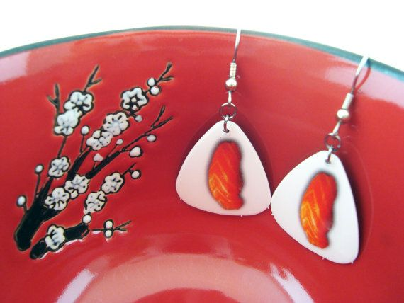 """Salmon Style"" - Guitar Pick Salmon Sashimi Sushi Themed Dangle Earrings by JWoDesigns on Etsy."