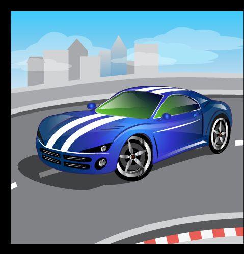 мультфильм спортивный дизайн автомобиля векторов комплект