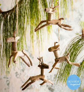 Seaside Inspired - Specializing in Modern Beach Decor: Driftwood Christmas Decor for a natural, beach style Christmas