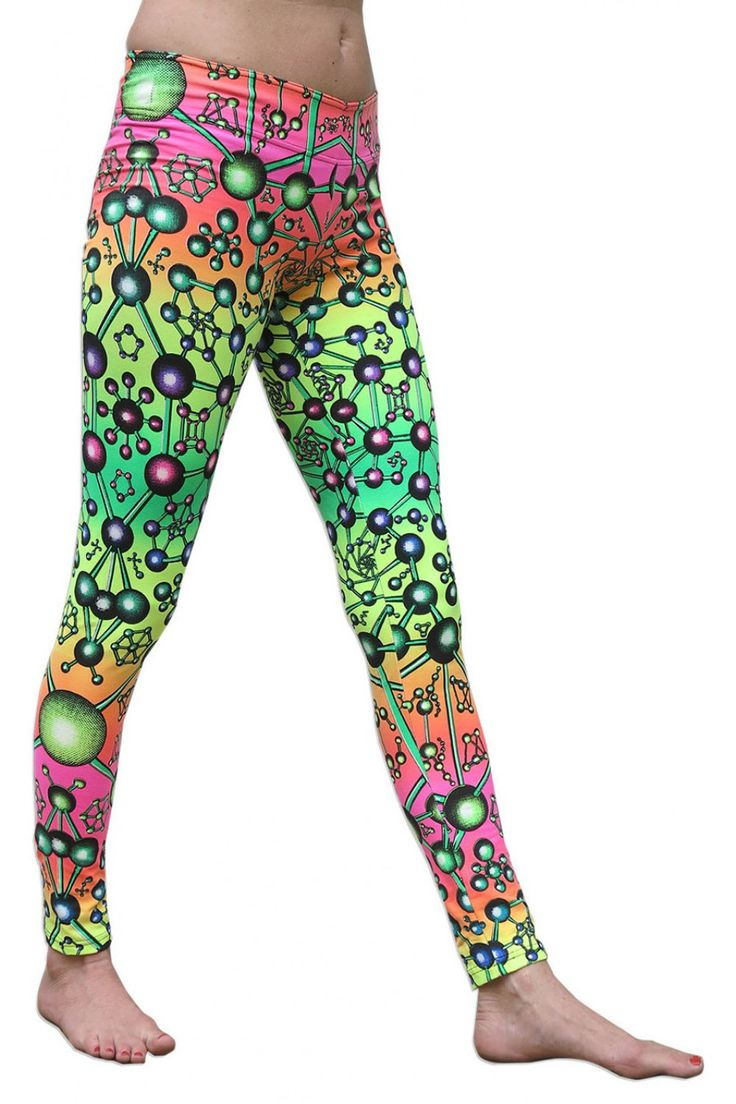 Wide waistband Leggings : Atomic Rainbow Fully printed cotton lycra leggings. Wide elasticated waistband. UV Active ! Cotton lycra fabric (95% cotton, 5% lycra) Artwork by Space Tribe