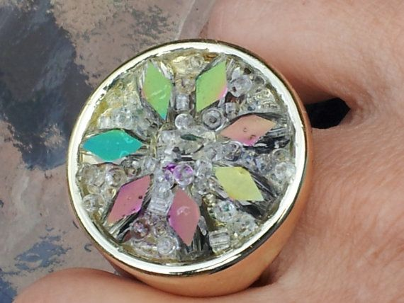 Gold Bling Ring by MosaicmagicArt on Etsy, $55.00