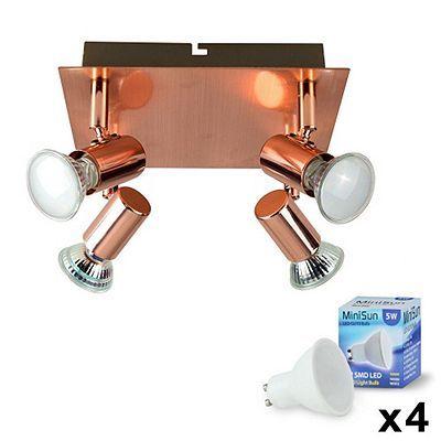 Square 4 Way LED Ceiling Spotlight Copper & Warm White GU10 Bulbs