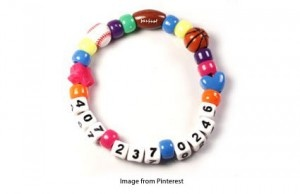 telephone bracelet for young kids who cannot remember their phone number