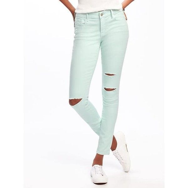 Old Navy Womens Mid Rise Rockstar Pop Color Skinny Jeans ($35) ❤ liked on Polyvore featuring jeans, entertain mint, petite, denim skinny jeans, stretch jeans, skinny jeans, stretchy skinny jeans and mint green skinny jeans