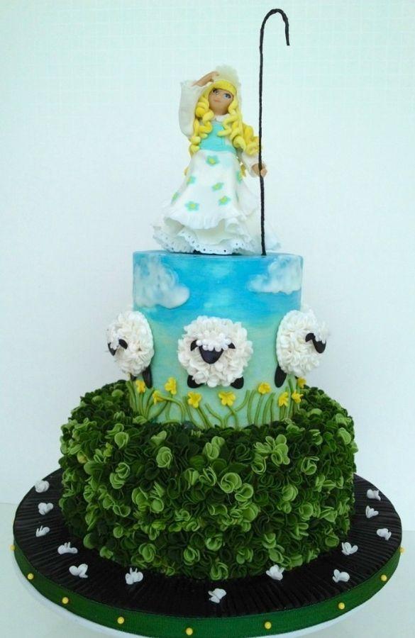 Little Bo Peep Baby Shower cake. Hand sculpted gum paste figure .