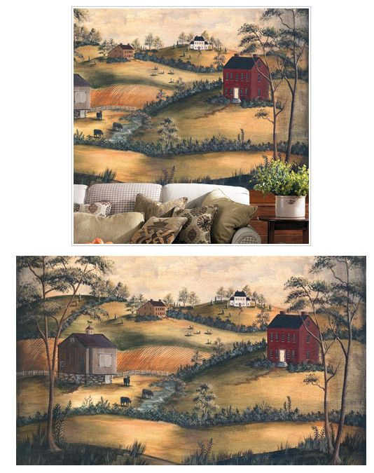 nostalgic country wall mural