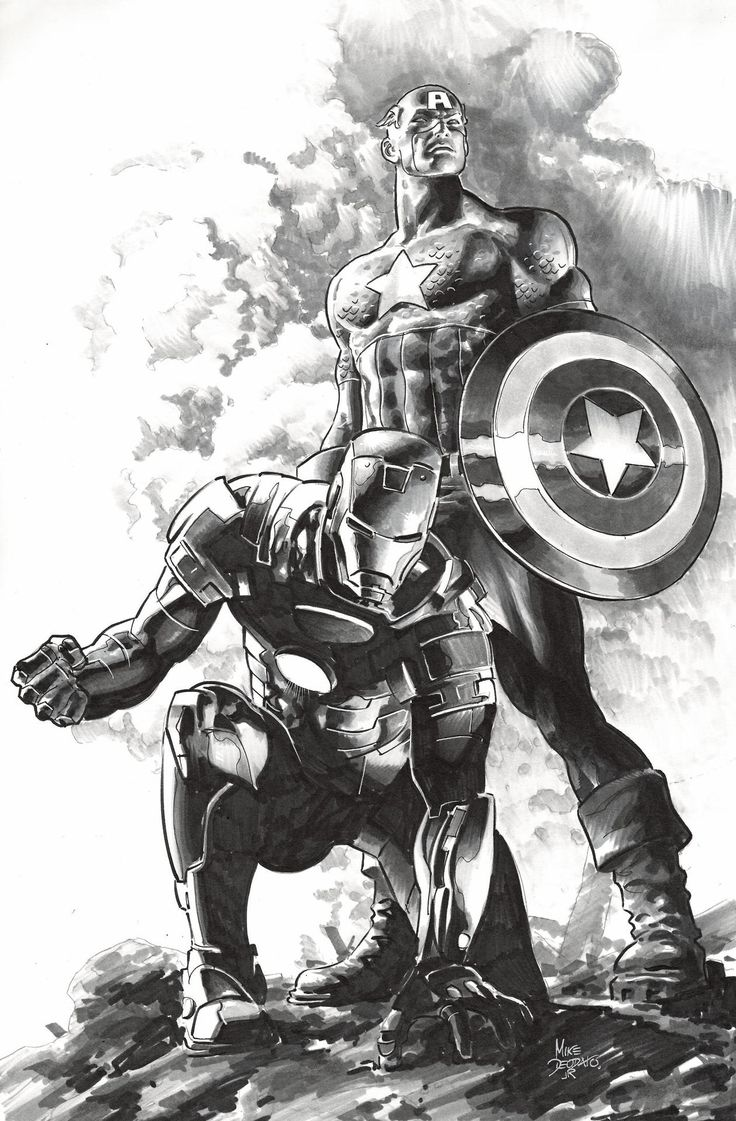 Captain America and Iron Man by Mike Deodato Jr