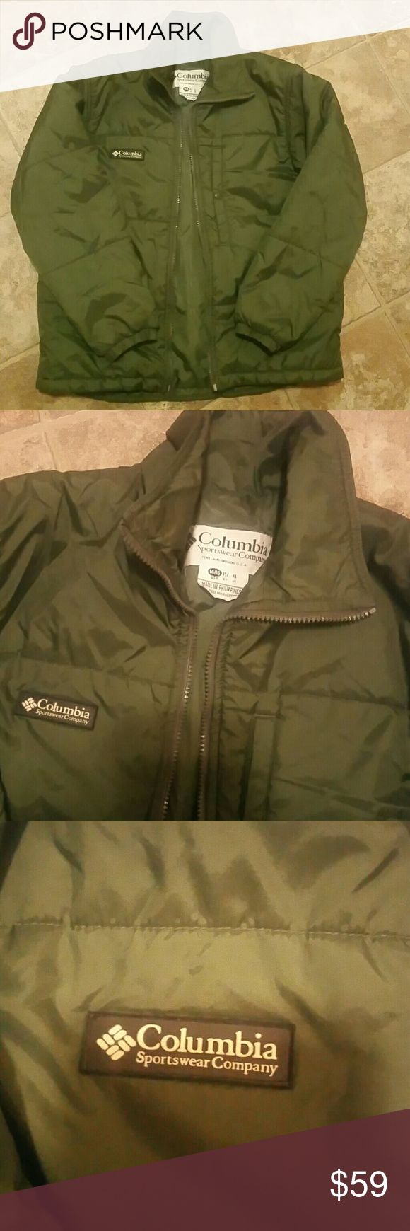 """""""Boy's Columbia Sportswear Coat"""" NEW!!## Army green nylon puffer coat with a high collar and zipper closure. Columbia Jackets & Coats Puffers"""