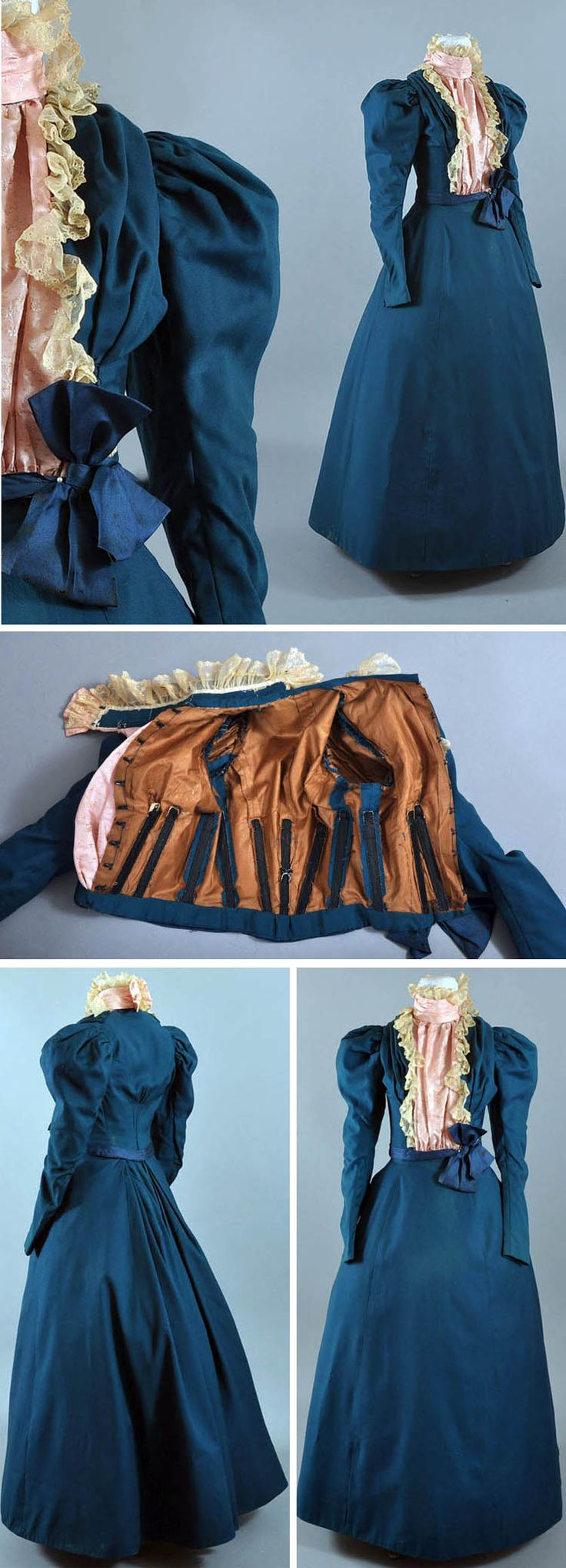 Visiting or promenade dress, circa 1895. Peacock blue wool. Skirt is Princess-style and created with gores. It has deeper gathers in back where it hooks closed. Bodice is boned and has moderate leg o' mutton sleeves. It is very fitted and ends at waist. Has silk trim, lace, and pink silk inset. High collar. Via Maire McLeod/Ruby Lane.