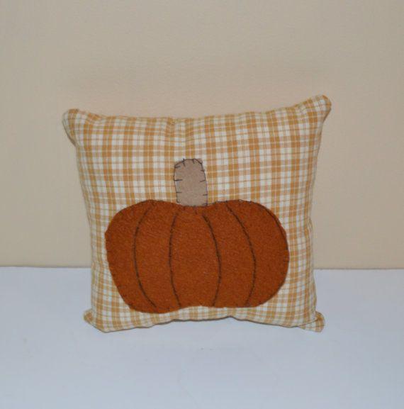 Primitive Pumpkin Pillow Fall Decor Shelf Sitter by SuesAkornShop