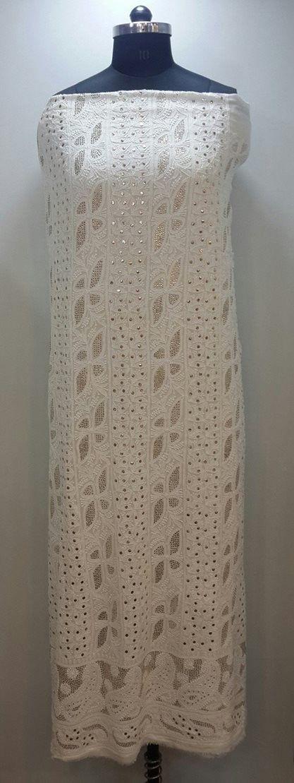 Lucknow Chikan Online Suit Length 2 piece white on white pure georgette with very fine chikankari murri, shadow, kaamdani, kangan & mukaish work with designer daaman & embroidered dupatta  $180