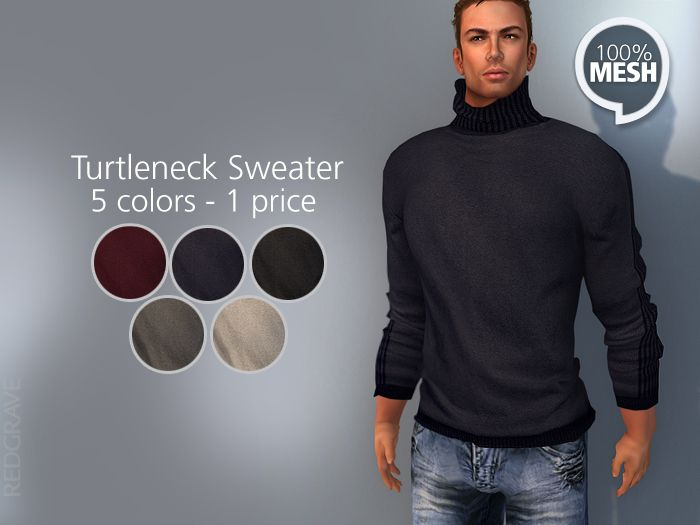 Mesh - Turtleneck Sweater - REDGRAVE