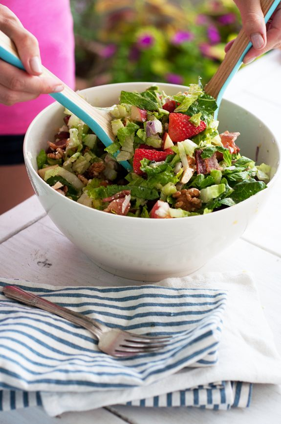 A CUP OF JO: The Best Chopped Salad: avocado, lettuce, strawberries, chicken, bacon, walnuts, cheese