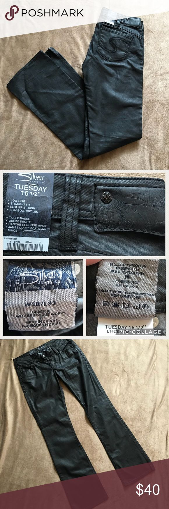 "NWT SILVER Women's Jeans Black with Sheen Size 30 I'm so sad to be listing these!  I purchased them when I lost a lot of weight, but I gained it all back before I was able to wear them.  These jeans are so unique!  They are black with a sheen. They almost have a leather look to them, but they aren't leather.  Black hardware.  It's time to find someone who will actually wear them!  W 30, L 33.  Slim bootcut. Low rise. Slim hip and thigh. Straight fit. ""Tuesday 16 1/2"" Silver Jeans brand…"