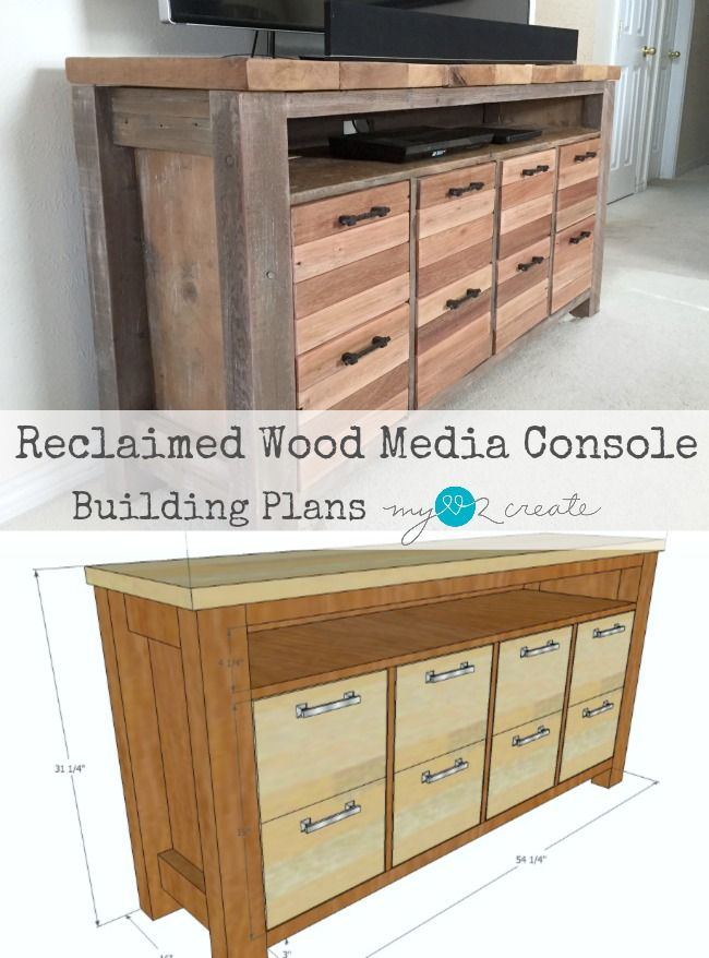 Reclaimed Wood Media Console | My Love 2 Create | Bloglovin'