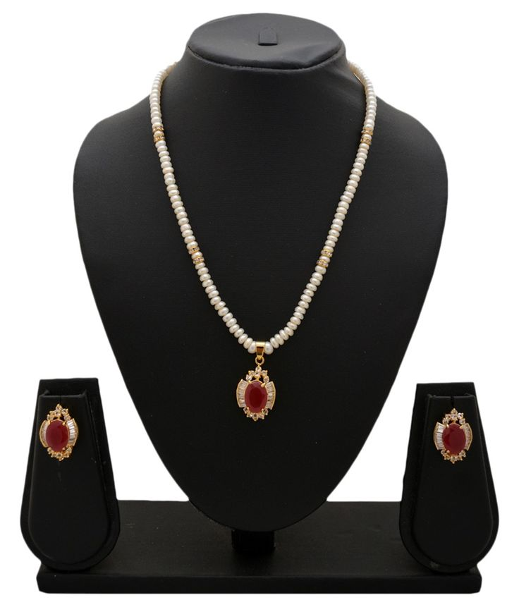Alyzapearls Red And White Contemporary Casual Hit Pearls Necklace Set