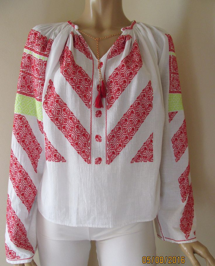 Stunning handmade Romanian peasant  blouse, hand embroidered with red cotton thread and yellow cotton thread on white gauze cotton. www.greatblouses.com