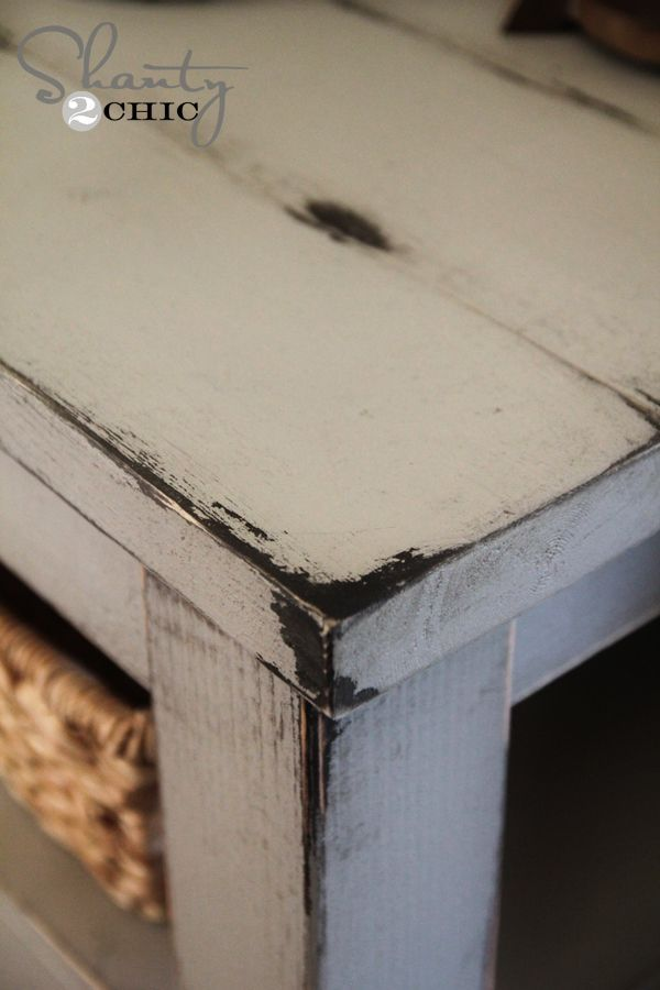 How to Get a Distressed Paint Finish - using spray paint and Vaseline - via Shanty 2 Chic