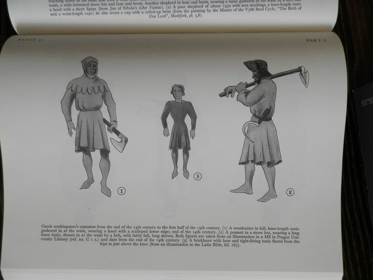 Czech workingmen's costumes from the end of the 14th century to the first half of the i 5th century. (i) A woodcutter in full, knee-length tunic gathered in at the waist, wearing a hood with a scalloped lower edge; end of the 14th century.