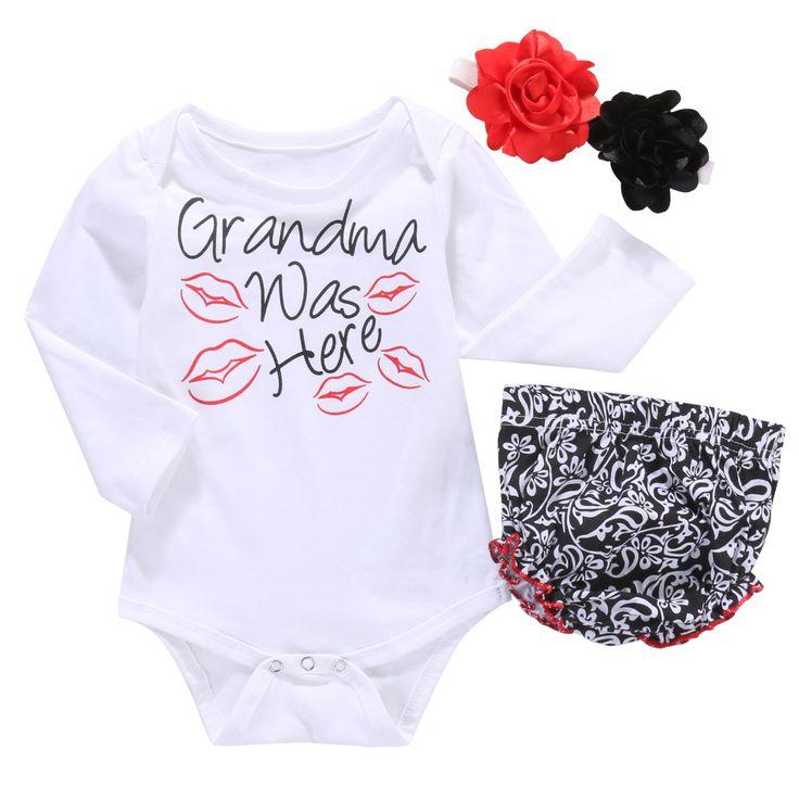 3pcs!!Toddler Newborn Baby Girls Tops Long Sleeve Kiss Romper+PP Pants+Flower Headband Outfit Set Clothes