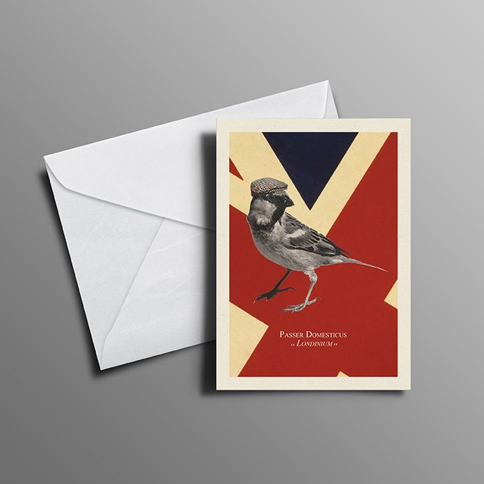 'Cockney Sparrow I' Greetings Card available at www.thecockneysparrow.com